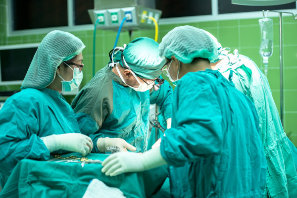 An operating theatre team performing surgery