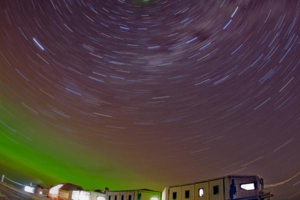 The winter sky above Halley VI station, Antarctica