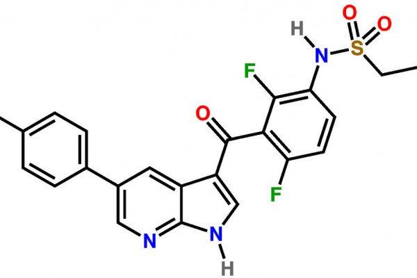 A BRAF inhibitor, vemurafenib