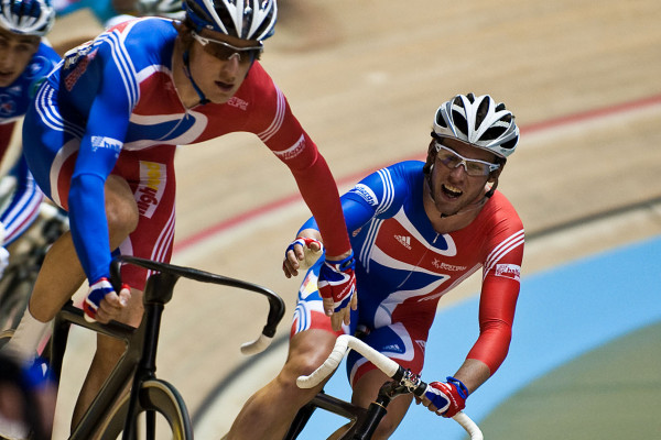 Bradley Wiggins (left) and Mark Cavendish (right) on their way to becoming world Madison champions 2008, Manchester Velodrome