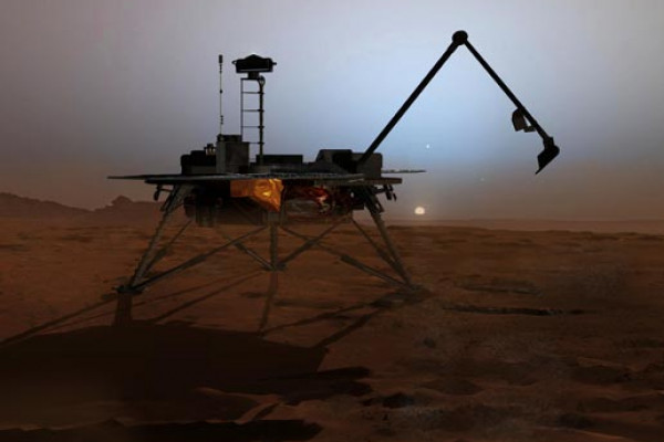 In this artist's concept illustration, NASA's Phoenix Mars Lander begins to shut down operations as winter sets in. The far-northern latitudes on Mars experience no sunlight during winter. This will mark the end of the mission because the solar...