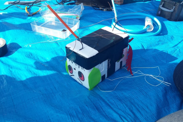 The Raspberry Pi was carefully put in a polystyrene box, ready for take off!
