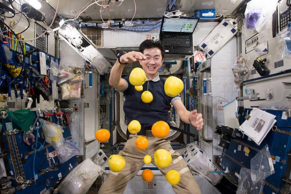 Astronaut Kimiya Yui in microgravity