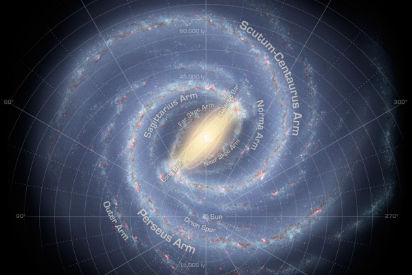 Artist's conception of the spiral structure of the Milky Way with two major stellar arms and a bar.