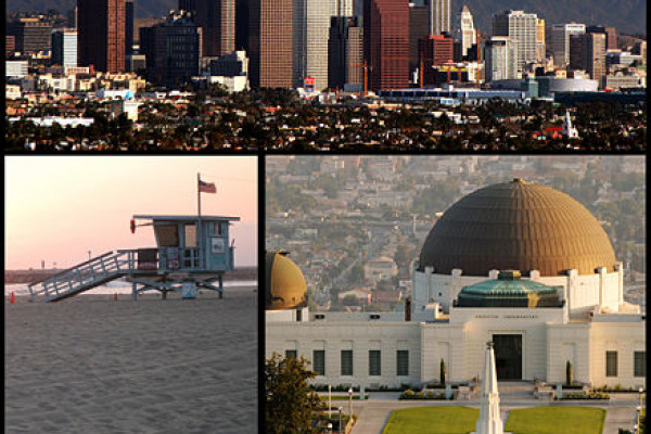 Montage of Los Angeles pictures on Commons: Top - Los Angeles Skyline by Nserrano Middle Left - Venice Beach by Adrian104 Middle right - Griffith observatory Matthew Field Bottom - Hollywood sign by Oreos