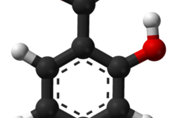 Ball-and-stick model of the salicylic acid molecule.