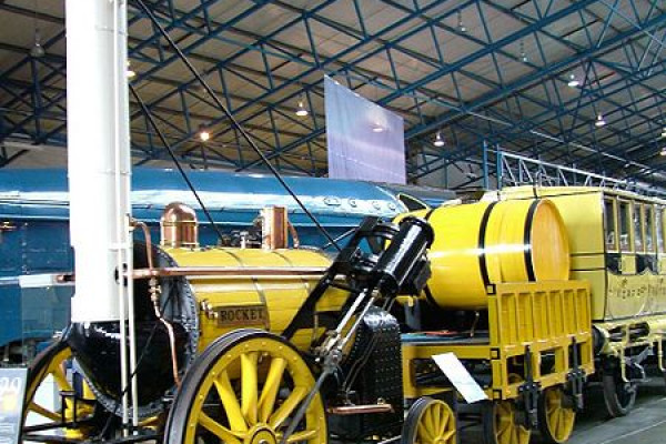 A real representation of Stephenson's Rocket in its original form.