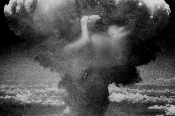 A mushroom cloud from an explosion.