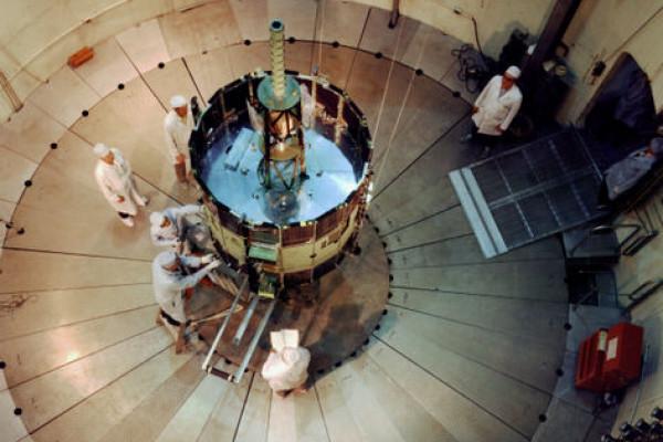 NASA's International Sun-Earth Explorer C (ISEE C) inside Goddard's dynamic test chamber.