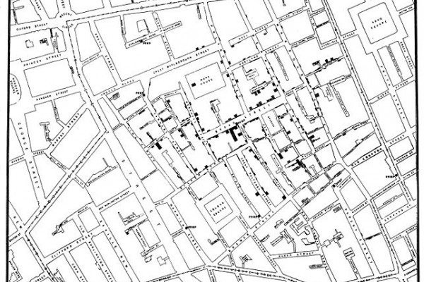 John Snow's original map made in 1854 to trace the root of a cholera epidemic.