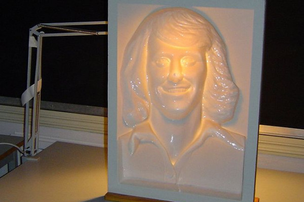 A mask of Swedish tennis player Björn Borg used in experiments of the Hollow-Face illusion at Uppsala University, Sweden. On this picture, the mask looks convex, but this is an illusion.