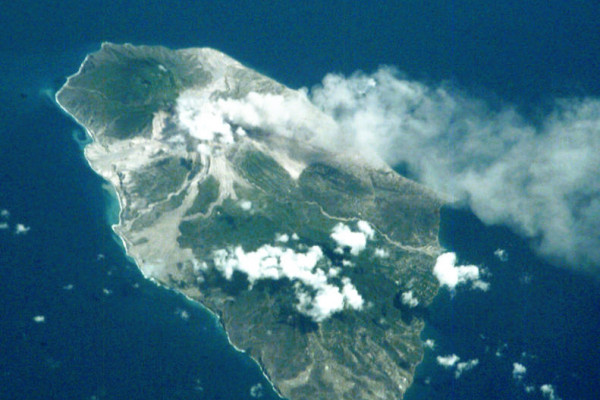 Soufriere on Montserrat erupting in 2001 taken from the ISS