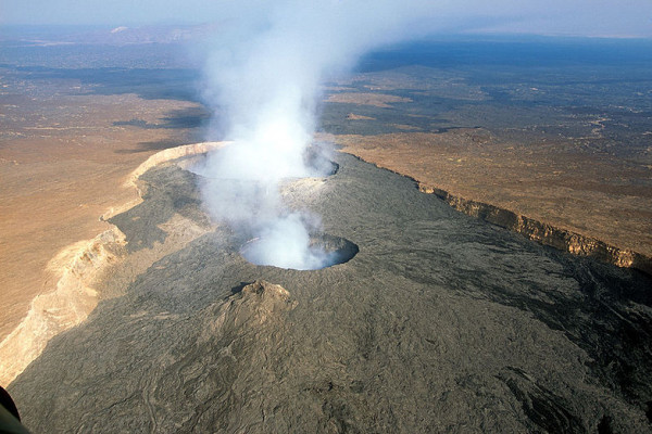Erta Ale is an active shield volcano located in the Afar Region of northeastern Ethiopia. It is the most active volcano in Ethiopia. Erta Ale stands 613 metres tall, with a lava lake, one of only four in the world, at the summit.
