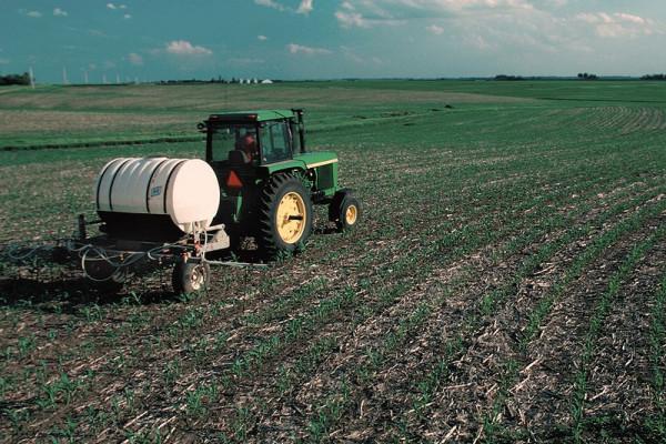Nitrogen fertilizer applied to crops