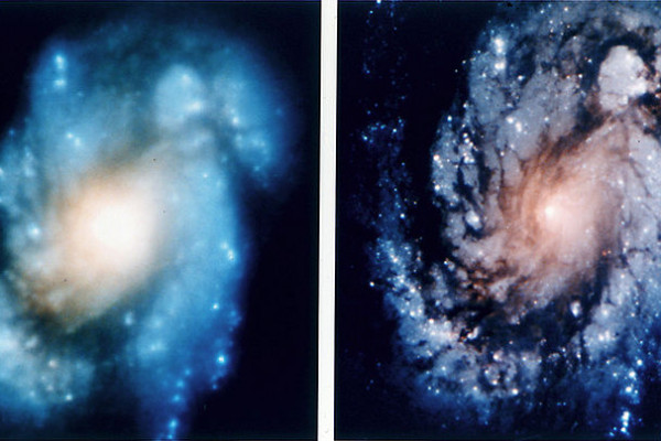 Images of the spiral galaxy M100 demonstrate the improvement in Hubble images after corrective optics were installed during Servicing Mission 1 in 1993.
