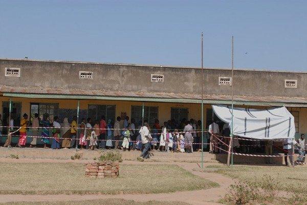 Line for meningitis vaccinations in Arua, Uganda