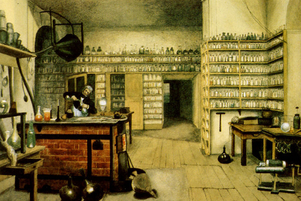 Michael Faraday in his lab, by Harriet Moore
