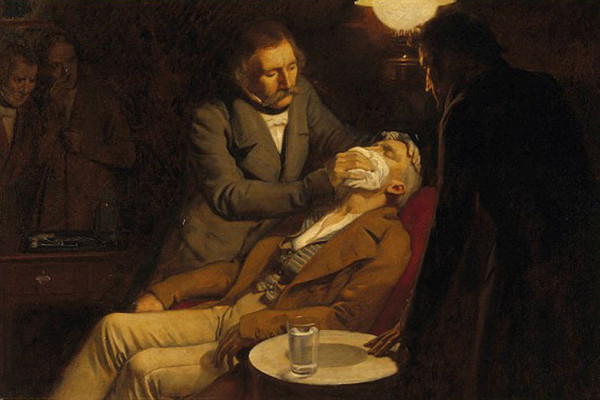 Illustrates the first use of ether as an anaesthetic in 1846 by the dental surgeon W.T.G. Morton