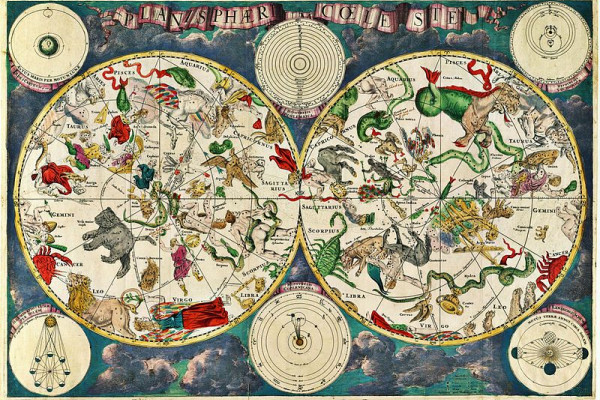 Celestial map from the 17th century, by the Dutch cartographer Frederik de Wit.