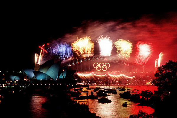 Fireworks over the Sydney Harbour Bridge during closing ceremonies of the Olympics games in Sydney, Australia.
