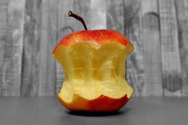 An apple, part-eaten