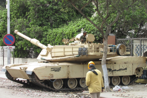 An M1 Abrams tank placed near Tahrir Square during the 2011 Egyptian protests.