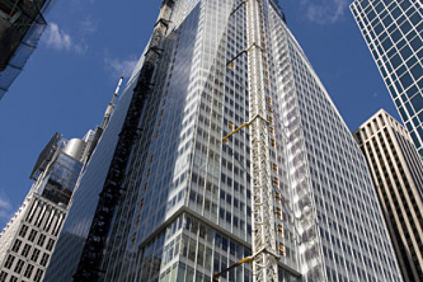 The Bank of America Tower under construction on 12 October 2007. Photo by Eric R. Bechtold