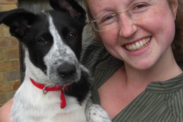 The author with her dog, Benny.