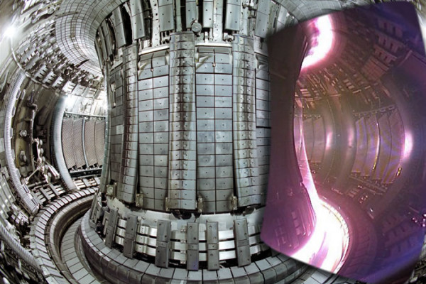 Split image showing interior view of the JET vacuum vessel with a superimposed image of an actual JET plasma, taken with an infra-red camera, 2005