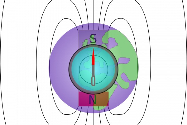 The earth is a giant magnet with its magnetic north pole at the earths south pole and its magnetic south pole at the earths north pole. The magnetised needles north pole is attracted to the earths magnetic south pole so the needle points towards the...
