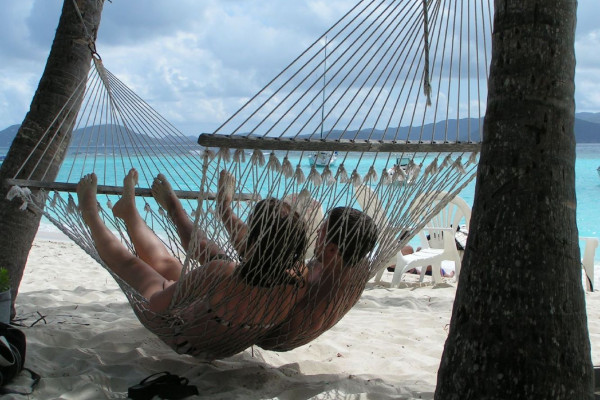 A couple in a Hammock.