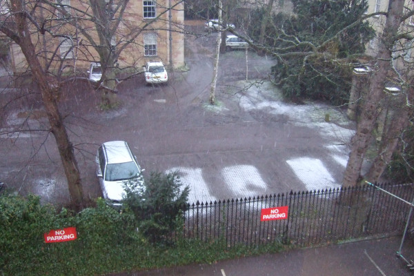 Snow just settling where cars used to be