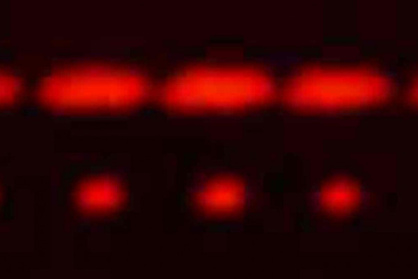 2-slit (top) and 5-slit diffraction of red laser light