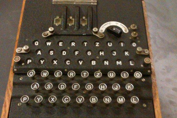 A genuine 2nd World War German Enigma machine.