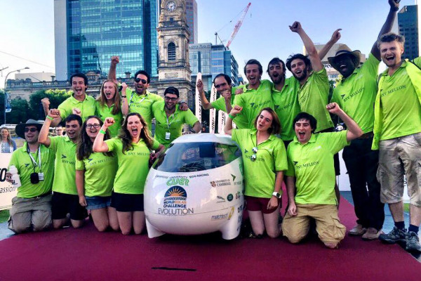 Cambridge Universities Eco Car at the finish line