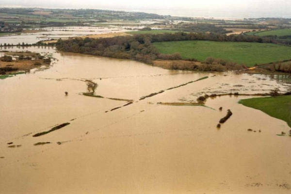 View of the flood plain following a 1 in 10 year flood on the Isle of Wight