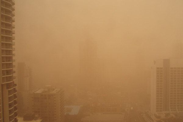 Dust storm at the Gold Coast Australia