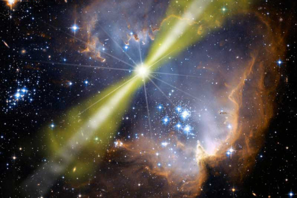 Artist's illustration of one model of the bright gamma-ray burst GRB 080319B. The explosion is highly beamed into two bipolar jets, with a narrow inner jet surrounded by a wider outer jet.