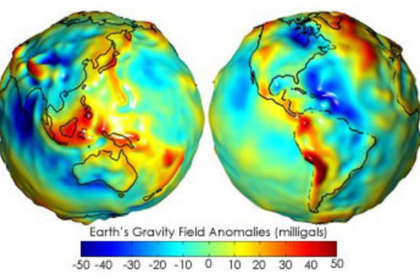 Gravity anomaly map from the NASA's GRACE (Gravity Recovery And Climate Experiment).