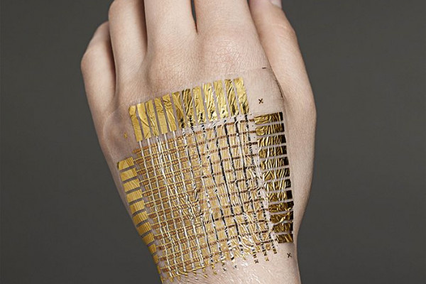The 2-micron-think foil can bend and conform to a curved surface, including skin. Twenty-seven times lighter than paper, it's imperceptible to wear, according to the inventors.