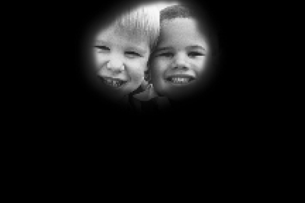 Human eyesight - two children and ball with retinitis pigmentosa or tunnel vision