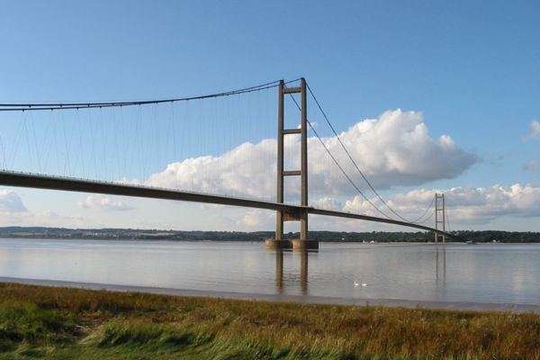 Humber Bridge, a suspension bridge in Yourkshre, finished in 1981