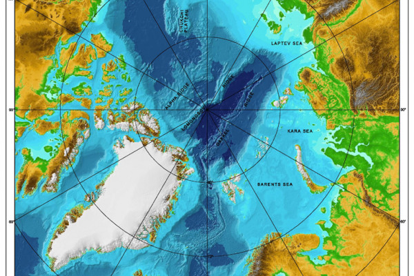 Bathymetric map of the w:Arctic Ocean