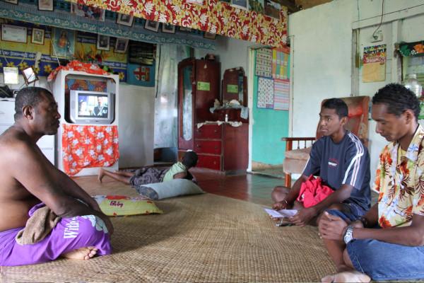 Interviewing fishermen in Fiji