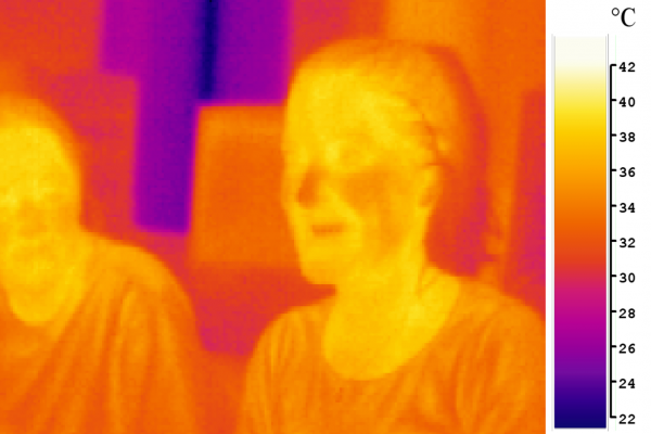 An image of two people in mid-infrared (\thermal\) light (false-color)
