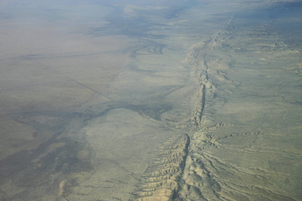 San Andreas Fault in the Carrizo Plain, aerial view from 8500 feet altitude