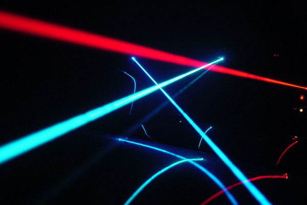 Argon-ion and He-Ne laser beams.