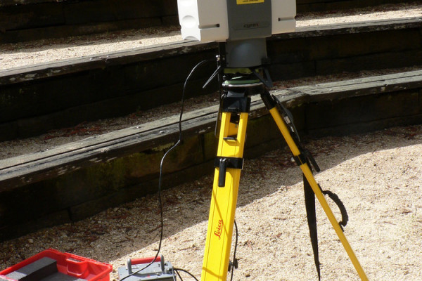 This terrestrial Lidar (light detection and ranging) scanner (TLS) may be used to scan buildings, rock formations, etc., to produce a 3D model.