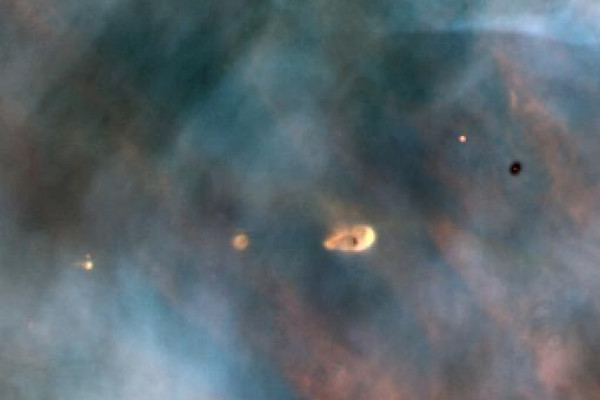 A Hubble Space Telescope view of a small portion of the Orion Nebula reveals five young stars. Four of the stars are surrounded by gas and dust trapped as the stars formed, but were left in orbit about the star. These are possibly protoplanetary...