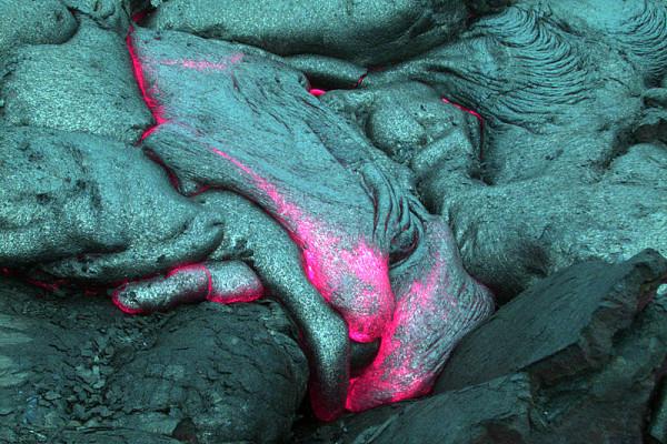 Hawaiian underwater magma flow